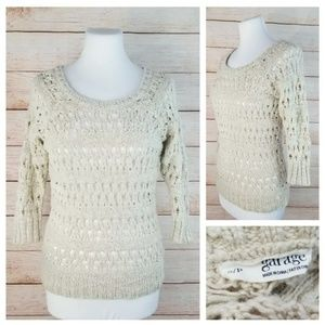 Garage Beige 3/4 Sleeve Open-Knit Crochet Sweater